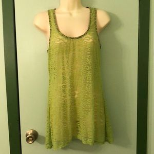 Lily White Green stretch lace Tunic Top